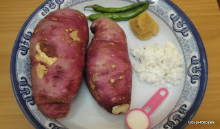 Sweet potato recipe-Sweet potato palya-Genasina oggarane