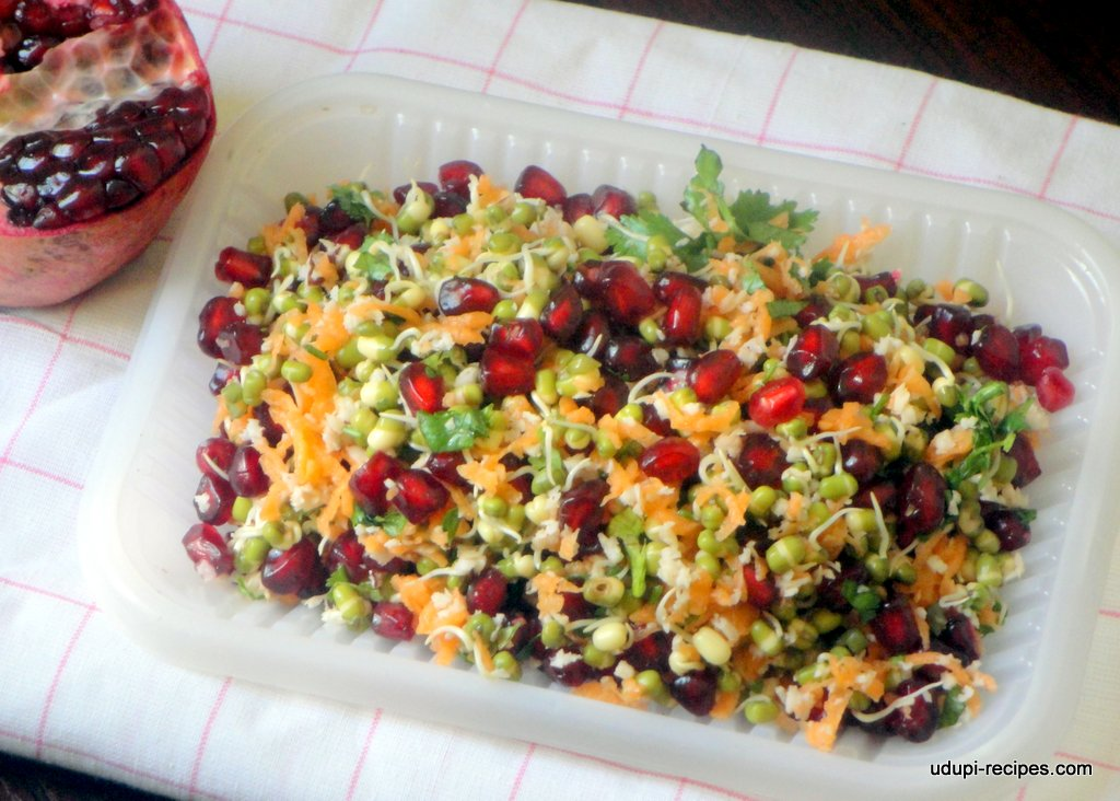 Sprouted Moong Salad with Carrot and Pomegranate