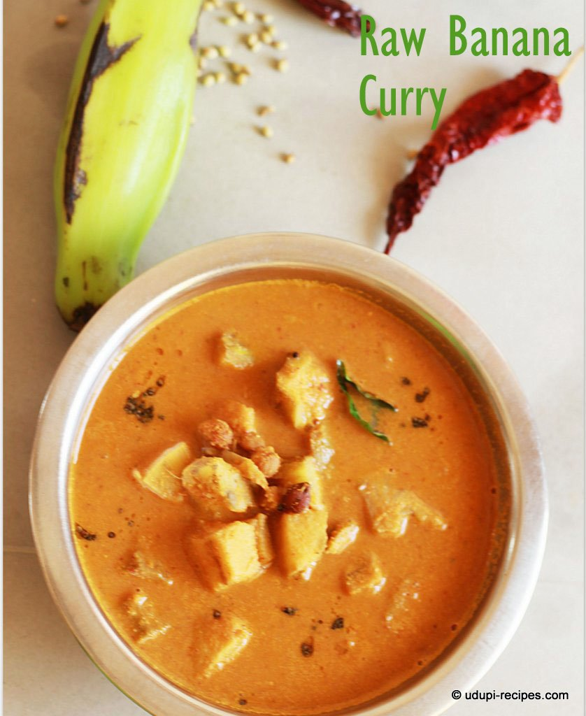 Raw Banana with Chickpea Curry | Plantain Curry Recipe