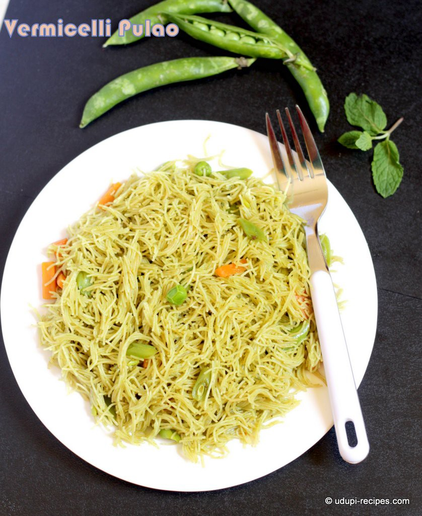 vermicelli pulao with fresh peas