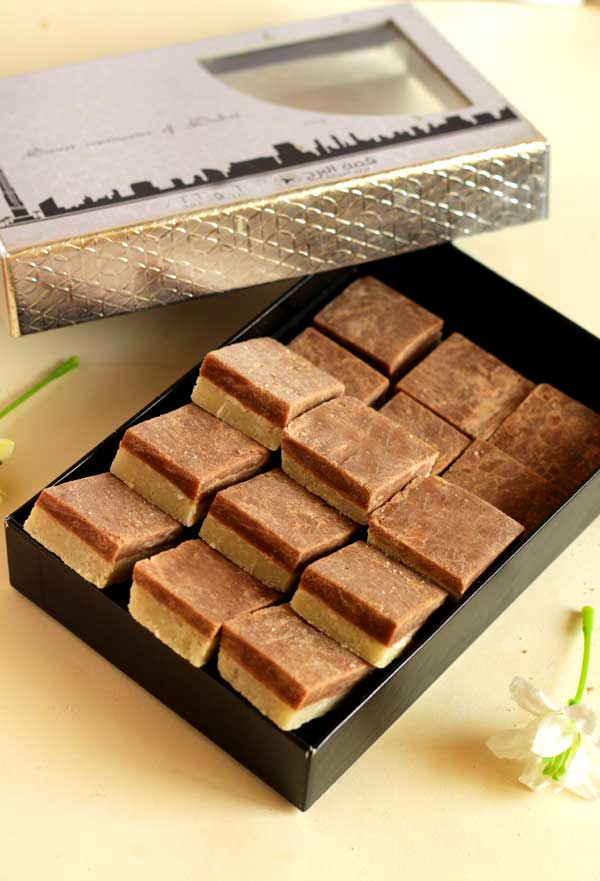 amazingly delicious two layer chocolate burfi