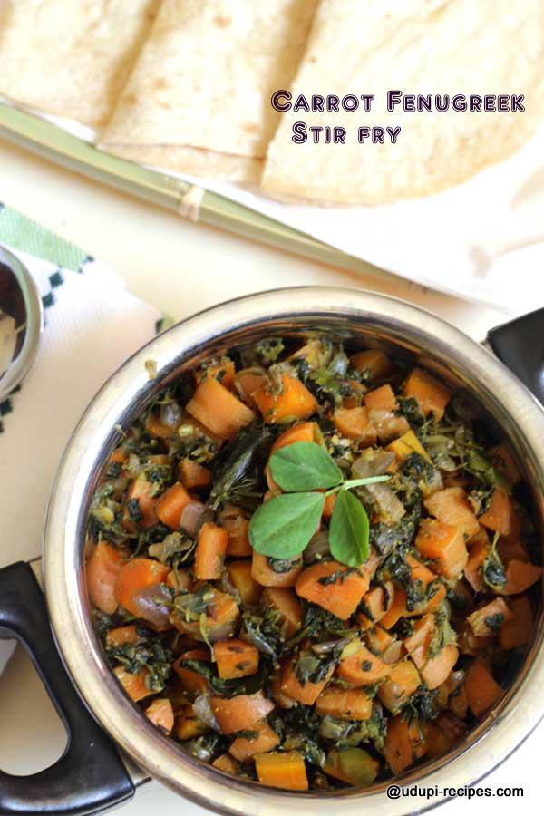 Healthy carrot fenugreek stir fry