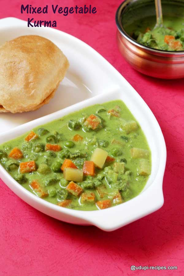 Best side dish with poori mixed vegetable kurma
