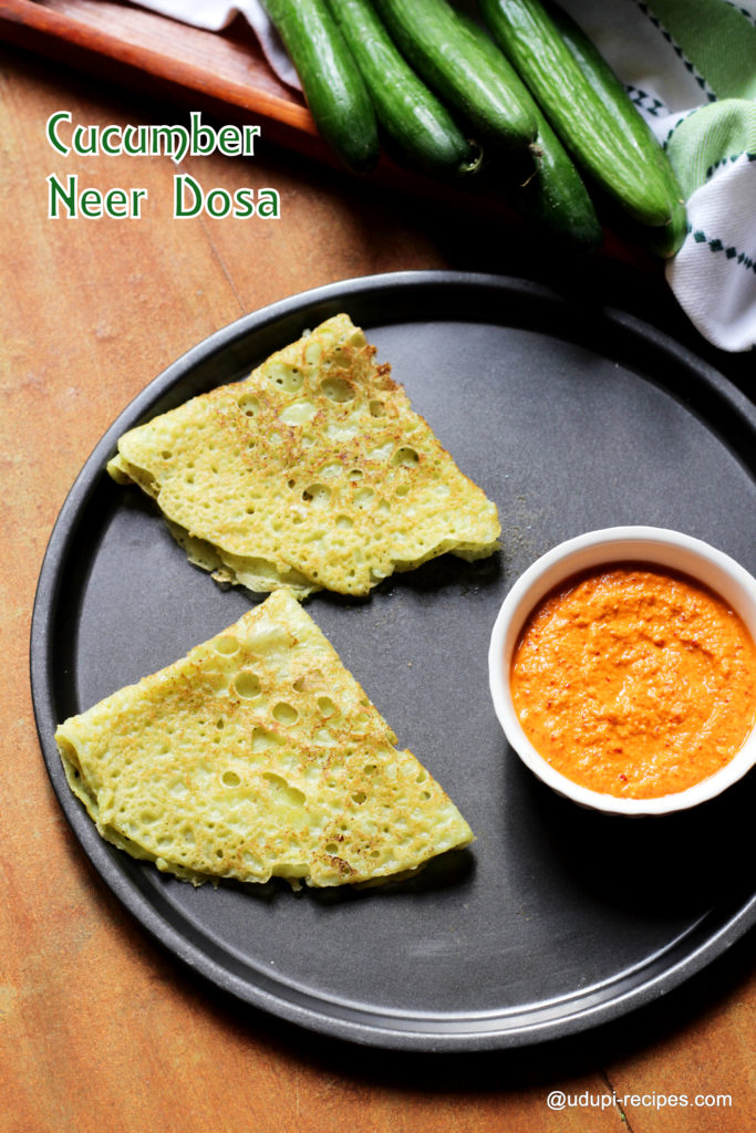 cucumber neer dosa with coconut chutney