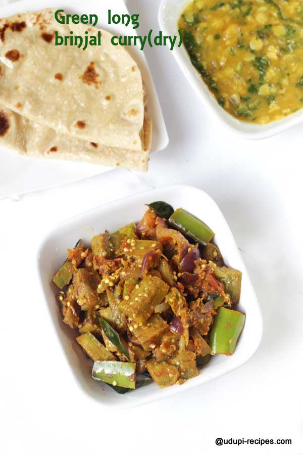 green long brinjal curry - chapati side dish