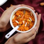 Delicious carrot halwa using milk