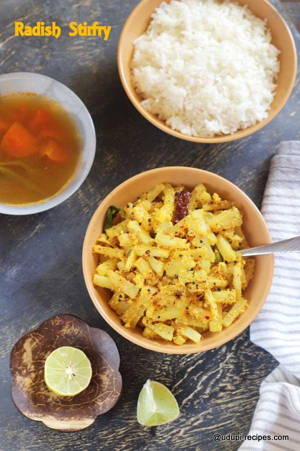 radish strifry in Udupi style