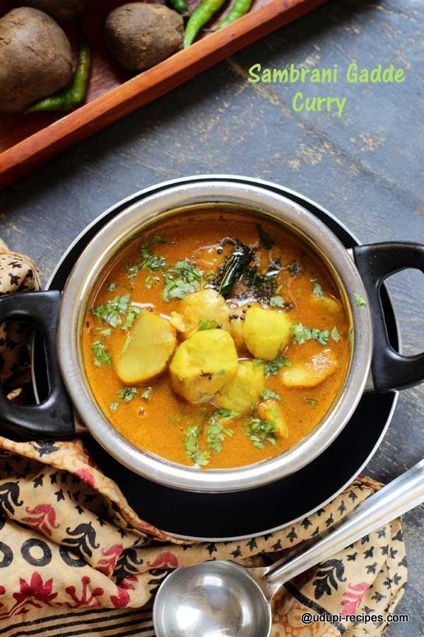 Sambrani Gadde Curry | Chinese Potato Curry Recipe - Udupi