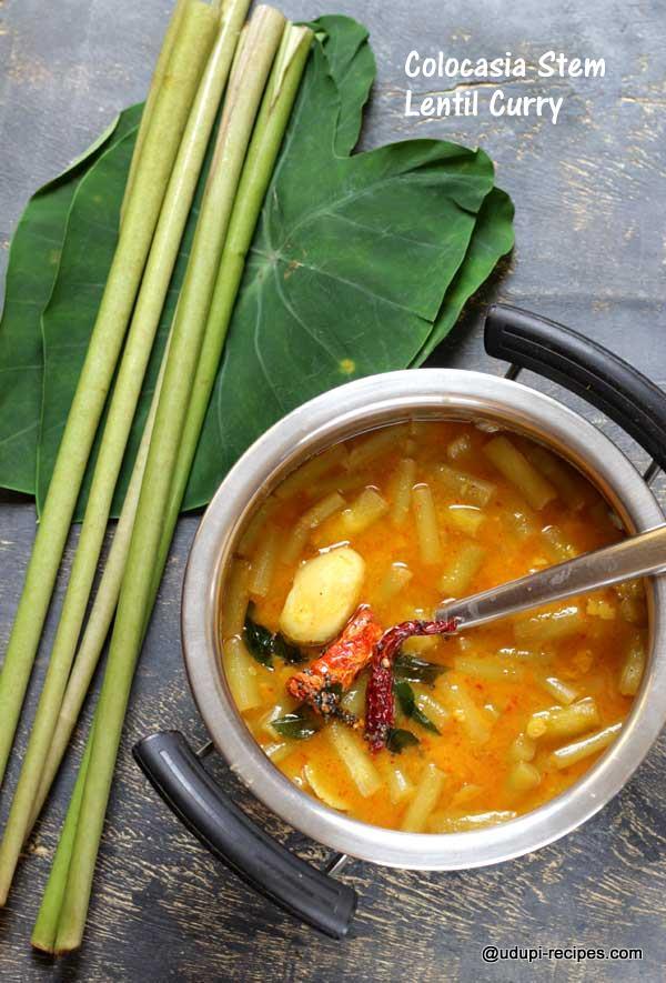 colocasia stem lentil curry-easy recipe