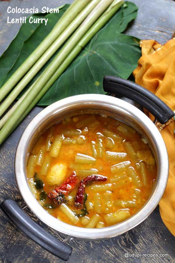colocasia stem lentil curry